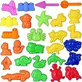 TOYANDONA Juego de herramientas de arena con 27 piezas de mini caja de arena para juguetes de actividad con cerradura de frutas del mar y animales, compatible con cualquier forma de arena