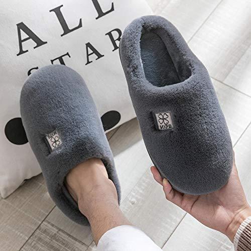 Flip Flop-GQ Zapatillas de algodón para Hombres, Patines Interiores de Invierno, otoño e Invierno, Zapatos de Felpa cálidos para el hogar-44-45_Trébol de Cuatro Hojas Gris Oscuro