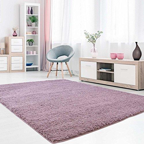 MyShop24h Teppich Wohnzimmer Pastel Lila Hochflor Shaggy 60x110cm Oeko-Tex Standard 100% Micro-Polyester Einfarbig Allergiker geeignet