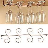 Estante de vidrio chapado en latón, 8 soportes para copas de vino, soporte para vidrio, soporte para utensilios debajo del gabinete, estante para cocina