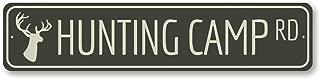 Hunting Camp Rd Sign, Custom Lake House Street Sign, Deer Hunter Road Gift, Metal Buck Hunt Lake House Decor - Quality Aluminum - 4