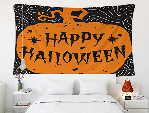 Tapiz Tapiz de pared, cielo azul del mar, tapiz, tapices de pared para el hogar Arte para D & eacute; cor Sala de estar Dormitorio Feliz Halloween letras dibujadas a mano en la silueta de una calabaza