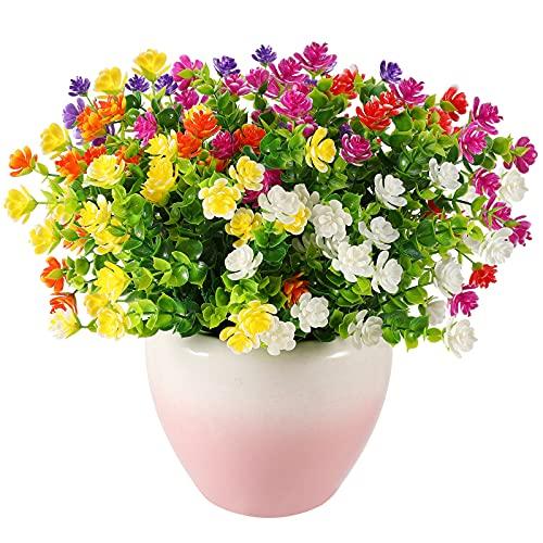 Künstliche Blumen,6 Bündel Sträucher Blumen Pflanzen,Unechte Blumen,Schleierkraut Kunstblumen,für Haus Garten Blumenschmuck and Aufhängen Hausgarten Veranda Fenster Hochzeitsfeier Dekor