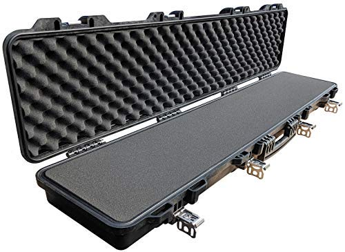 Cedar Mill Hard Rifle Case w/ TSA Specs – Lifelong-Durable Gun Cases for Rifles w/ Stainless Steel, Iron-Clasp Locks and Gun Case Foam Inserts – Floatable, Military-Grade DS3TeK AR15 Case