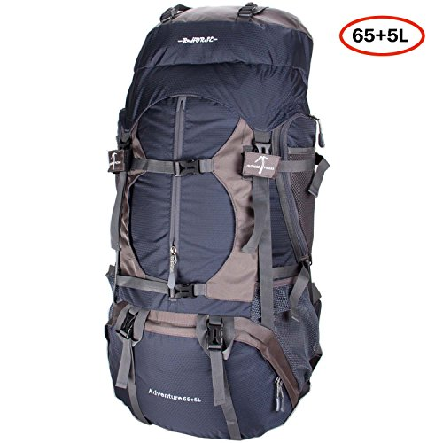 R HORSE Adventure 65L+5L Internal Frame Backpack; Great Backpacking Gear; Hiking Backpacks for Camping and Hunting; Free Rain Cover Included