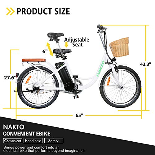 """NAKTO 22"""" Electric Bike 250W Electric Bicycle Sporting City Bike with 36V 10Ah Lithium Battery"""