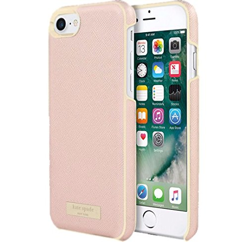 Kate Spade New York Wrap Case for Apple iPhone 7 - Saffiano Rose Gold / Gold Logo Plate