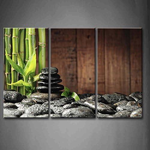 First Wall Art - Zen Tableau Toile Bamboo Grove et Pierres Zen Noires de Green Spa Concept Peinture Murale Cadre 3 Pi...