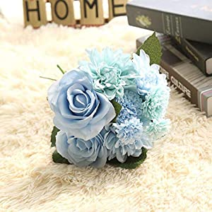Homyu 8 Pcs Dahlia Fake Flowers Artificial Dahlia Rose Flowers Faux Flowers for Home Wedding Party Office Supplies (Tiffany Blue)