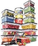 Set di Contenitori Plastica – Contenitori Alimentari a Chiusura Ermetica (16 pz) - Scatole Plastica con Coperchio Antigoccia, Senza BPA – 16 Etichette Lavagna e Pennarello Gesso - Chef's Path
