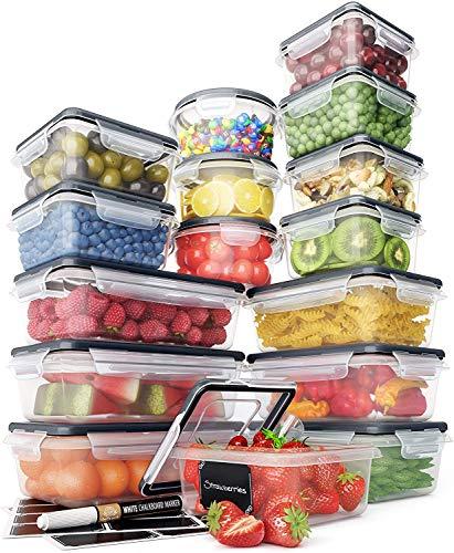Lot Boites de Rangement – Boites de Rangement Plastique avec Couvercle Pratique (16 pièces) – Boites Plastique Etanches – Sans BPA – Etiquettes et 1 Marqueur Craie – Chef's Path