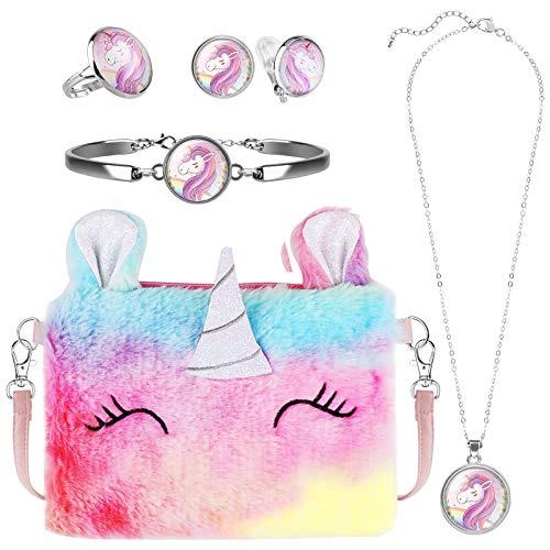 Hifot Plüsch Einhorn Handtaschen Mädchen kinderschmuck, Unicorn Kette Halskette Armband Ohrringe Ring schmuckset, Umhängetaschen Kleid Gastgeschenke Geschenk
