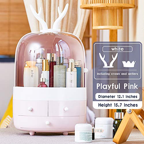 ESOUL TECHNOLOGY Multifunctional Makeup Organizer with Dustproof Jewelry and Cosmetic Storage Skin Care Products Rack Dressing Table Desktop Finishing Box with Drawer on Countertop (Pink)