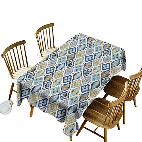 Waterproof Polyester Table Cover Plaid Moroccan Tiles Paisley Geometric Diamonds Circles Flowers Art Print Oblong Table Cloth for Picnic Banquet,Easy Care 60x84 Inch