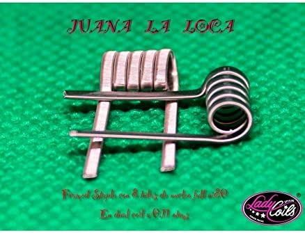 RESISTENCIAS ARTESANALES 2 UNIDADES - LADY COILS - PARA CIGARRILLO ELECTRONICO - JUANA LA LOCA - (FRAMED STAPLE +-0,11/0,22) *uso preferible mecánicos/apta electrónicos.
