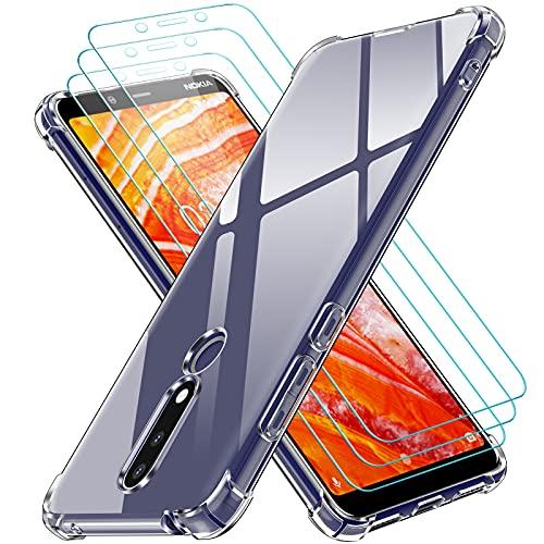 ivoler Klar Hülle für Nokia 3.1 Plus mit 3 Stück Panzerglas Schutzfolie, Dünne Weiche TPU Silikon Transparent Stoßfest Schutzhülle Durchsichtige Kratzfest Handyhülle Hülle