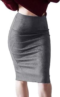 4b46f00642a854 Amazon.fr : Jupe Daim - Gris : Vêtements