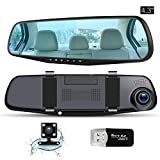 Mirror Dash Cam 4.3' Dual Dash cam 1080P HD Car Video Recorder Front Rear Dual Lens Car Camera with G-Sensor, Loop Recording, SOS, Microphone