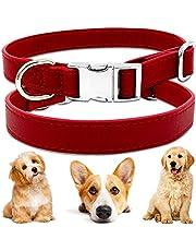 BETOY obroża dla psów, miękka, skórzana obroża dla psa, regulowana obroża ze sztucznej skóry, dla małych, średnich psów, szczeniaków i kotów, czerwona (27 cm do 40 cm i 2 cm szerokości)