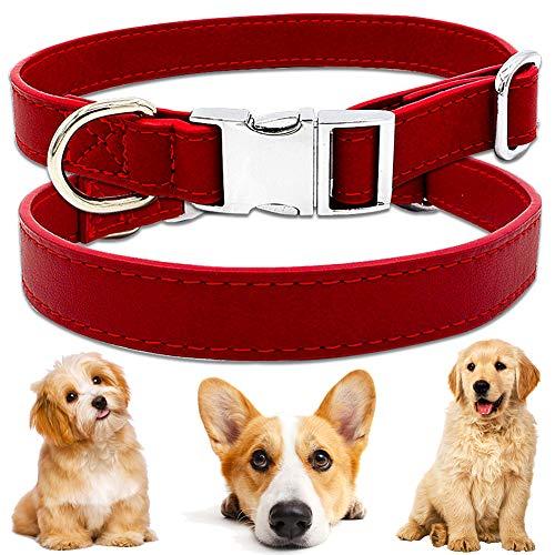 BETOY Collar para mascotas, collar de piel suave, ajustable, con piel sintética para perros pequeños, medianos y grandes, color rojo (27 cm hasta 40 cm y 2 cm de ancho)