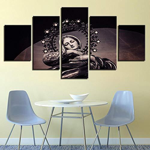 Sanzx Canvas Painting Mural Hd Print Home Decor 5 Piezas Virgen María Jesús Imagen Ortodoxa Religiosa Poster Living Room30 * 40 * 2 30 * 60 * 2 30 * 80Cm Sin marco