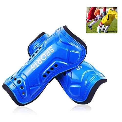 Schienbeinschoner für Nachwuchsfußballer von Auvstar - 1 Paar, leicht und atmungsaktiv, für Kinder im Alter von 3–10 Jahren, für Jungen und Mädchen, blau