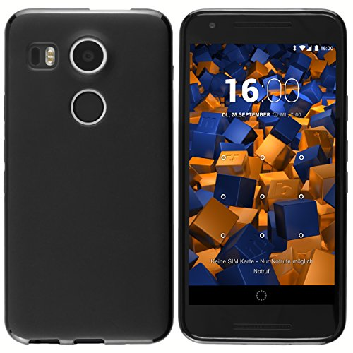 mumbi 12385 Schutzhülle (TPU Silikon Case, enormer Grip, schutz vor Staub, Dreck & Wasser geeignet für LG Google Nexus 5X) schwarz