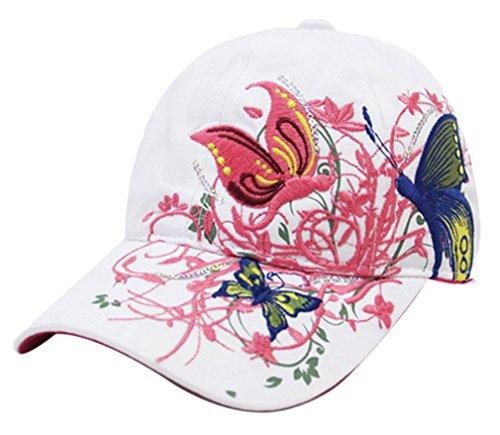 Belsen Gestickte Schmetterlings-Baseballmütze für Mädchen Einheitsgröße Weiß
