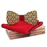 Stoota Fashion Men's Wooden Bow Tie, Classic Simple Handmade Wedding Party Wooden Necktie