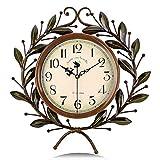 Lafocuse Reloj de Pared Silencioso Metal Elegante Reloj Cuarzo Vintage Grande Rama de Olivo para...