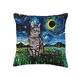 Sagittarius Gallery Gray Tabby Tiger Cat Starry Night Moon and Stars Art by Aja Throw Pillow, 16x16, Multicolor