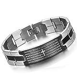Flongo Men's Vintage Stainless Steel Black Cross Silver English Bible Lords Prayer Link Wrist Bracelet, 8.1 inch