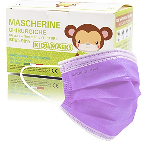 50 Stück Made in Italy bunte Schutzmasken für Kinder, 3 Schichten CE Typ IIR, verstellbare Nasenpolster, individuelle Packungen (violett)