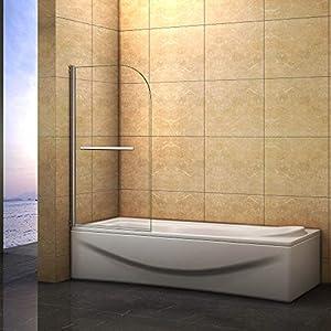 Mampara de bañera Abatible de 1 Hoja 180 grados con Toallero 80x140cm