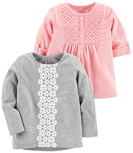 Simple Joys by Carter's Baby Girls' Toddler 2-Pack Long Sleeve Tops, Pink, Gray, 5T