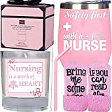 Safety First Drink with a Nurse Tumbler, Gifts for...