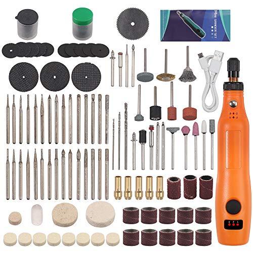 Tanice Herramienta multifunción con batería, herramienta giratoria, 5000 – 15000 rpm, 3 posiciones, carga USB ajustable, miniherramienta giratoria con 159 accesorios