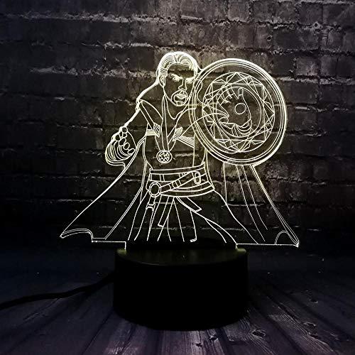 ARXYD Base de altavoz bluetooth de 16 colores con luz nocturna Película figura fantasma doctor extraño niño habitación noche luz carga lava cumpleaños amigo regalo juguete Lámpara de 3D 16 Colores RGB