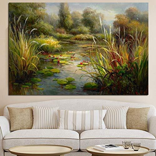 wZUN Carteles e Impresiones Abstracto Lotus Pond Paisaje Rural Pintura al óleo Lienzo Sala de Estar sofá Arte Cuadro de la Pared 60x80 Sin Marco