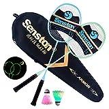 Senston 2 Luminosa Racchetta da Badminton + 2 LED Shuttlecock, Fluorescenza Glow in The Dark, Spiaggia Gioco del Giardino Outdoor Indoor Sport - Illumina la Tua Notte