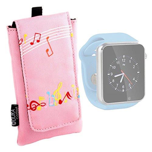 DURAGADGET Funda Acolchada Rosa para Reloj AGPtek A1 | LaTEC | Pebble Classic | Time Round | Posma W1 | Pushman 1 | Zolimx U80 - con Motivo De Notas Musicales - ¡Impermeable!
