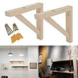 OVOV 2 Pack Wall Mount Wood Shelf Solid Bracket Shelf Supports Pendant Lamp Kit Includes Screws (Wood) 7 inch