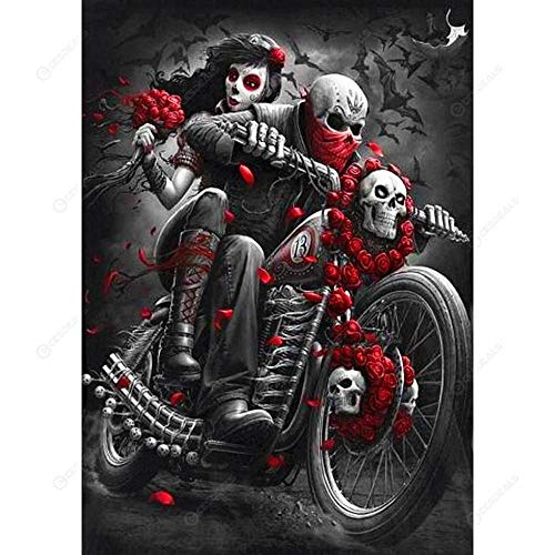 Paint by Numbers for Adult Skeleton Couple Motorcycle Canvas Art Kit DIY Oil Painting for Beginner