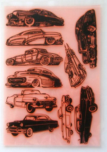 American Retro Fifties Voitures Sketches // Tampon Clear Stamp grande feuille 18x24cm FLONZ