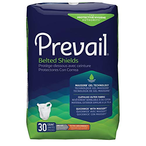 Prevail Belted Shields, Extra Absorbency, One Size, 30 Count (Pack of 4 (120 Count))