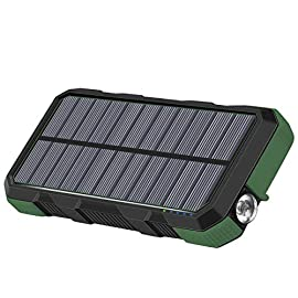 Hiluckey Solar Charger 26800mAh Power Bank PD 18W Portable Charger with USB C Port External Battery with LED Flashlight… 7 26800mAh Gigantic Capacity: It can charge your phones 10-12 times or tablets 4-5 times for an average of 9 days of usage per charge. Please note the solar charging function is only used for emergency because it has only one panel. Fast Charging: With 18W power delivery and QC3.0 tech, it can quick charge a 3000mAh phone around 1.5 hrs or a 6000mAh laptop around 2.5 hrs. PD&QC Tech: The blue USB port and USB C port can work with a 12V laptop. And use a PD or QC adapter to fully charge the power bank within 8 hrs via USB-C port. (USB C port can work as input and output)