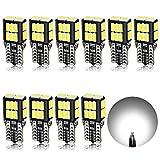 AGLINT T10 LED Bombillas CANBUS Coche W5W 194 168 2825 Bombillas de Repuesto Para Coches Interior Luces De La Matrícula Posición Baúl Laterales Iluminación Luces 12V Blanco 10PCS