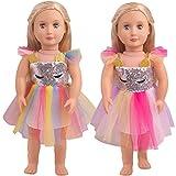 WENTS 43 cm la Ropa de la Muñeca del Ropa Traje Vestidos del Unicornio para Las Muñecas del Bebé Recién Nacido Girl Doll del Bebé Muñecas de Bebé en Tamaño 17-18' Rosado 2PCS