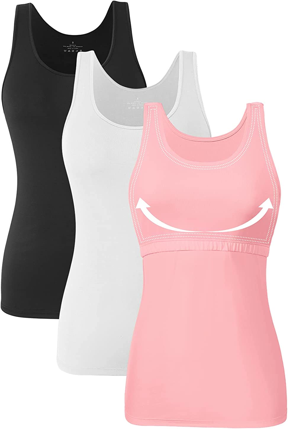 Orrpally Basic Cotton Tank Tops for Women Shelf Bra Tank Soft Solid Undershirts 3-Pack