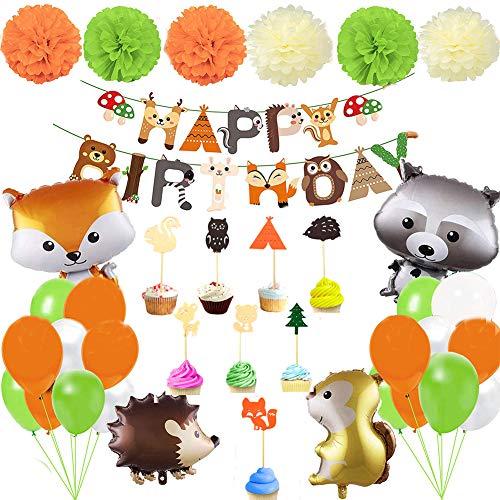 Birthday Decoration Set, Children's Birthday Decoration, Comic animals, Birthday Flag, Banner, Cake, Squirrel foil Balloon, Party Decoration for Girls and Boys, Birthday, Party
